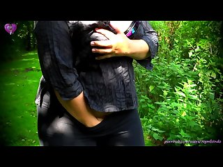 Outdoor fingering till soft squiting on panties in a park near fountain
