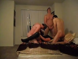 Shemale bareback threesome