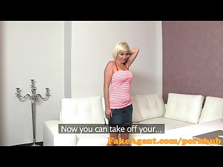 Fakeagent petite blonde gets spunk shower in casting