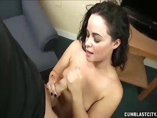 Horny model gets cum splattered