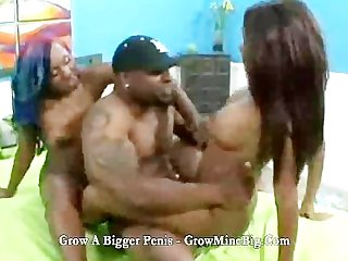 All black in threesome with big cock sex