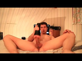 Awesome young huge cock fucks his fleshlight