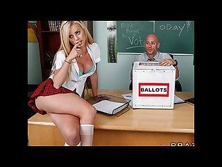 Cute playful blonde schoolgirl fucks her teacher in class