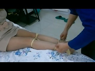 Chinese girl bondage tied up and gagged with stockings