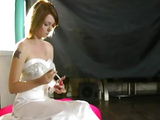 Sissy training smoking bride watches husband enjoy his weddding present