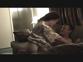 Wife riding dick in front of hubby