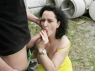Mature lady gang banged outside