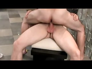Two handsome jocks pissing before engaging in deep anal fun