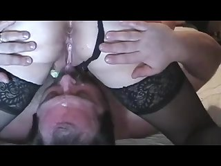 Cuckold position hubby eats wife analy fucked by bull