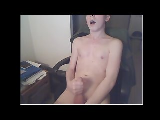 Cute high school straight boy cumming while screaming
