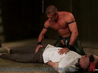 First timer ben craves being teased and bound by leather dom