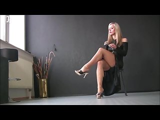 Milf blonde high heels foot fetish