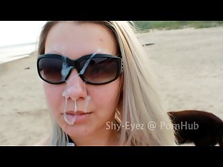 public outdoor beach blowjob big facial 1of2 shy eyez tha cumshot king