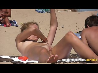 Shaved pussy milfs tanning naked at the nudist beach hd video