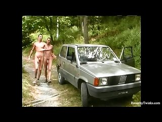 Smooth handsome raunchy boys outdoor anal sex on the car hood
