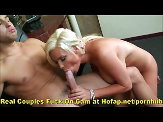 Blonde milf big tits fuck and facial