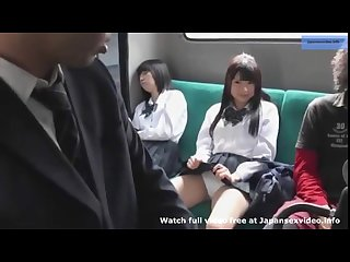 Japanese schoolgirls bus teasing passangers to touch and masturbate under s