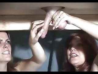 Ugly milf is learning how to milk a dominated man s small cock