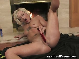 Sexy blonde slut uses a vibe on herself