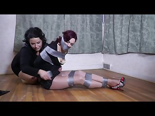 Girl duct taped and gagged by lady woman