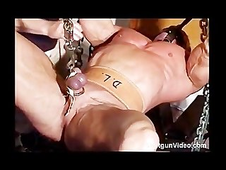 Bodybuilder cbt ball stretching bondage