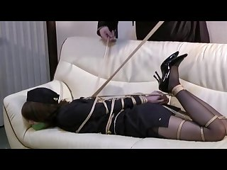 Japanese air hostess hogtied