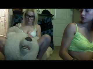 Strong girl flexing dominating a bear with her mighty muscles and flexing