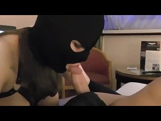 Leather gloves and Masked blowjob