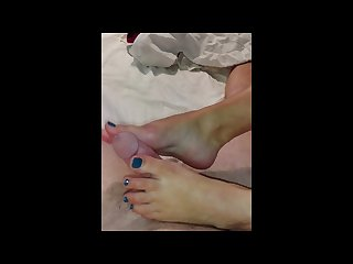 Lucky husband gets pleasured receiving his first footjob