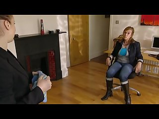 Milf in boots taped up and gagged with black tape tv