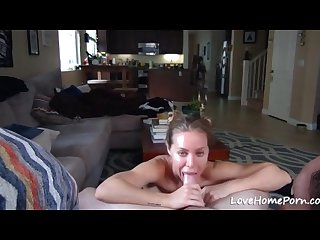 Fit girl with big fake boobs stroking a dick