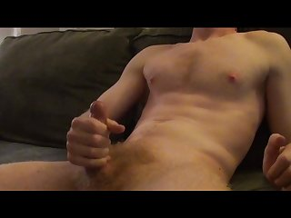 Hot amateur jerks until he shoots all over his belly
