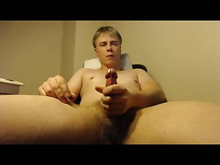 Straight uncut guy moaning and jerking his cock off to an intense orgasm