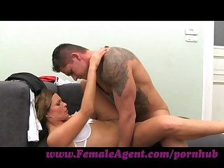 Femaleagent milf cums all over studs cock