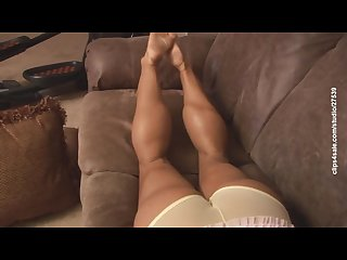 Milf bodybuilder teasing with sexy calves and feet