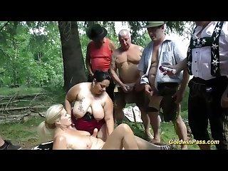 German outdoor orgy with bbw girls
