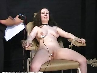 Electro tortured bbw in harsh stool bondage and severe suffering of Fatty