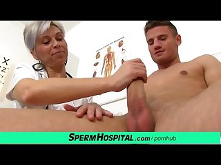Hot female doctor milf beate milking young dick