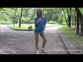 Young girl flashing hot naked body in public
