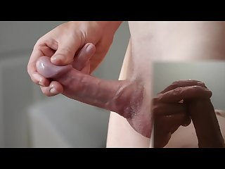 Glass thick cock teased