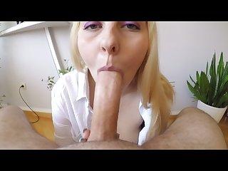 Hot blonde denata sucks big cock