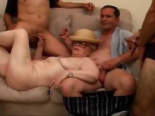 Great granny gangbang by many young cocks