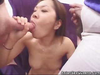 Analed asian jizzed in a threesome