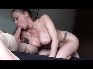 Kneeling on the bed sucking my bf s huge hard cock rubbing cum on my ddds