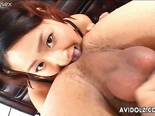 Hot asian girl gives blowjob and rimjob