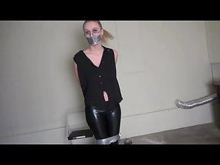 Captured bound and gagged hottie garage bondage