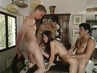 Vintage italian movie brunette fucks three guys