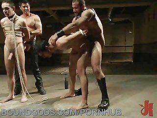 Auctioning off male bondage slaves