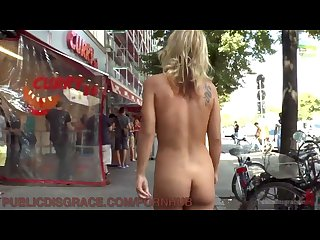 Berlin tourists gawk at nude horny slut