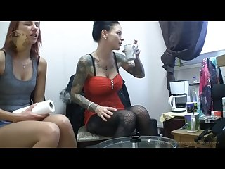 Mistress Chantal and 2 friends spitting and pissing for the lucky slave